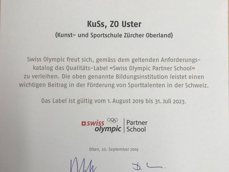 KuSs ZO erhält erneut Zertifizierung durch Swiss Olympic