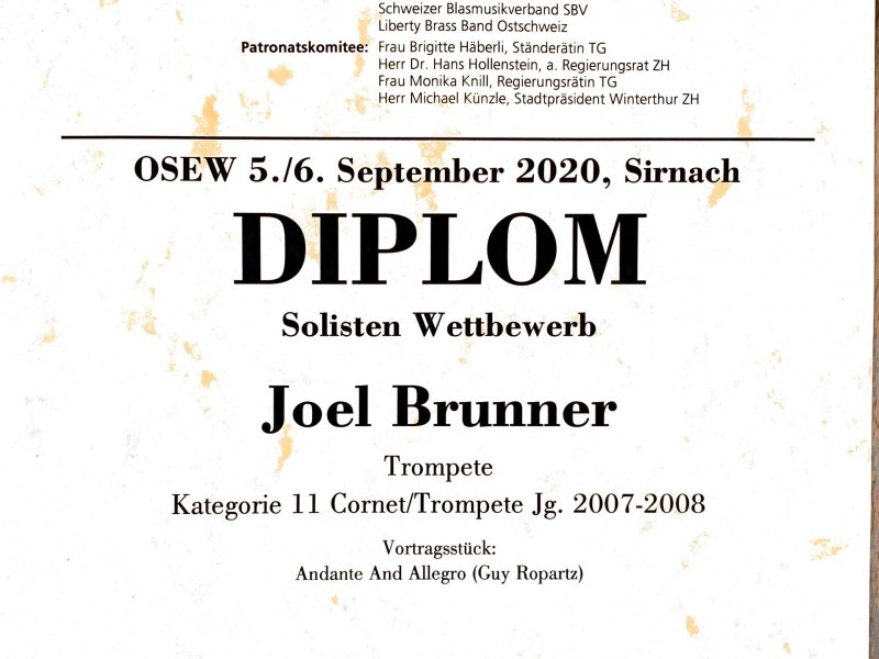 Trompete: Joel Brunner erreicht am Ostschweizer Solisten und Ensemble Wettbewerb den 2. Platz